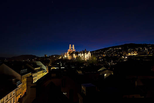 Charles Lupica - Blue hour of the Chateau and Collegiale of Neuchatel Switzerland