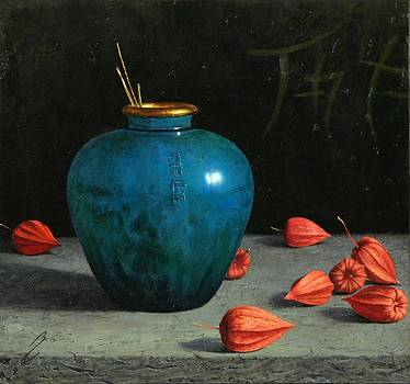 Blue Jar with Chinese Lanterns  by Bruno Capolongo