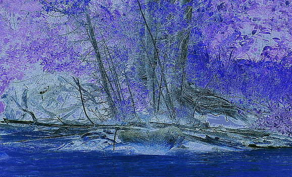 Rosemarie E Seppala - Blue Lake Rhapsody A Modern Digital Etching