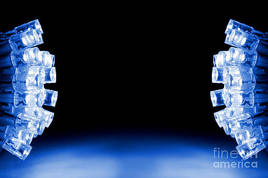 Simon Bratt Photography LRPS - Blue LED lights both sides of the image with space for text