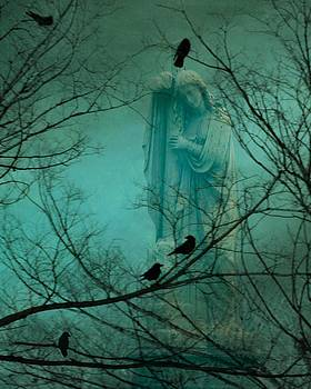 Gothicrow Images - Angel And Crows In A Blue Mist