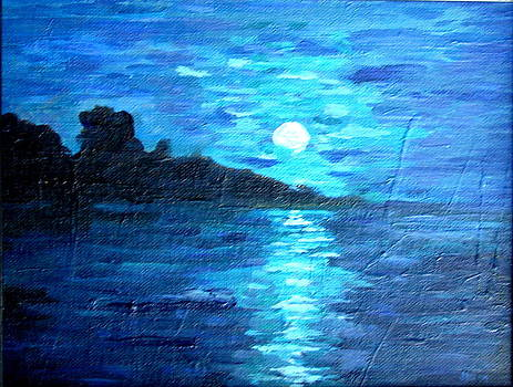 blue moon over lake couer da  lane Idaho by Joseph Hawkins