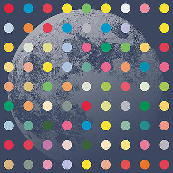 Blue Moon With Coloured Dots by Ken Surman