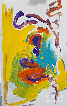 Blue Octopus and Yellow abstract by Anne Cameron Cutri
