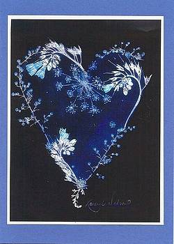 Blue on Black Heart  by Karen Nelson