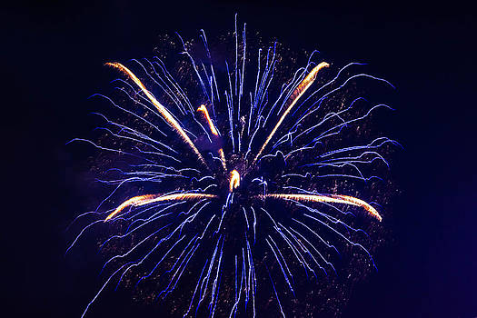 Blue Orange Fireworks Galveston by Jason Brow