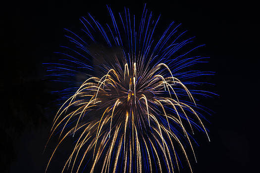 Blue Over Orange Fireworks Galveston by Jason Brow