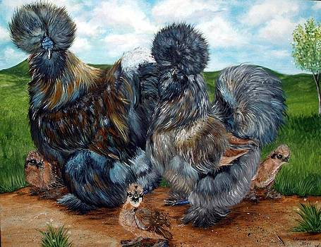 Blue Partridge Silkie Chicken Family by Amanda Hukill