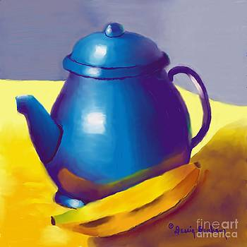 Blue Pitcher and Banana  by Dessie Durham