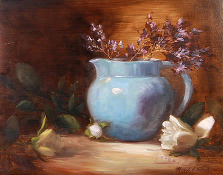 Blue Pitcher with Flowers by Michele Tokach