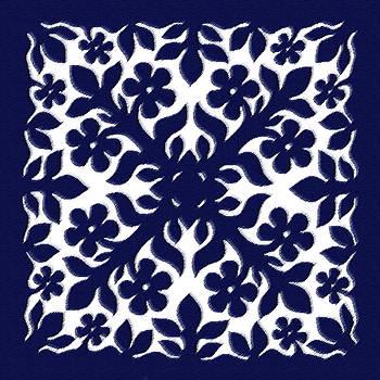 James Temple - Blue Plumeria Quilt
