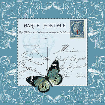 Blue postcard by Marion De Lauzun