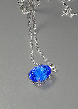 Blue Quartz Concave Cut Pendant Necklace by Robin Copper