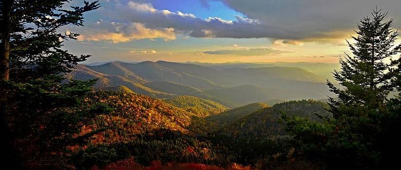 Blue Ridge Sunset - Richland Balsam Overlook - Blue Ridge Parkway by Matt Plyler