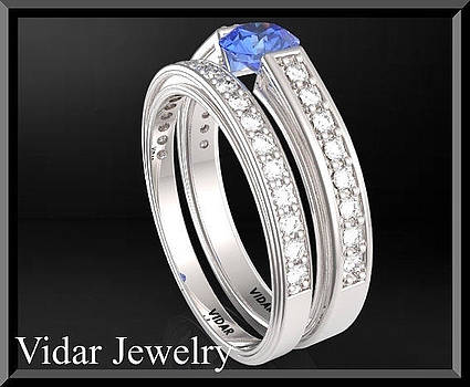 Blue Sapphire And Diamond 14k Wedding Ring And Engagement Ring Set by Roi Avidar