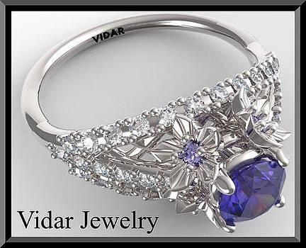 Blue Sapphire And Diamond 14k White Gold Flowers Engagement Ring by Roi Avidar