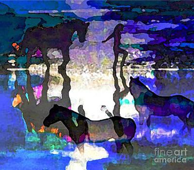 Algirdas Lukas - Blue Seascape with Horses