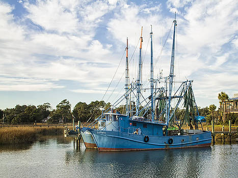 Blue Shrimp Boats on Shem Creek by Sandra Anderson