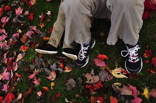 Blue Sneakers and Fall Leaves by Mary Frances