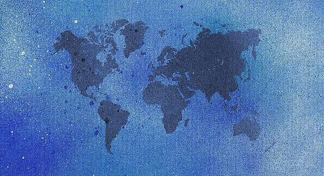 Hakon Soreide - Blue Spray Painting World Map