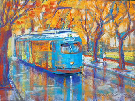 Blue Tram by Yevgenia Watts