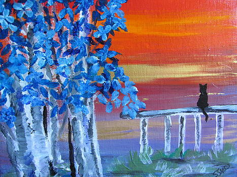 Blue trees at sunset by Susan Voidets