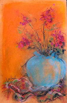 Blue Urn Fuchia Flowers by Josie Taglienti