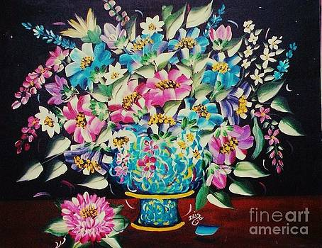 Blue Vase And Flowers by Iris  Mora