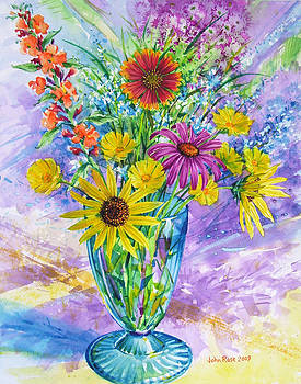 Blue Vase of Wildflowers by John Rose
