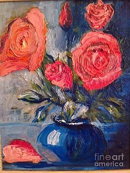 Blue vase pink roses.  by Bozena Chmielewska