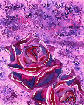 Beverly Claire Kaiya - Blue Violet Winter Roses Acrylic Painting
