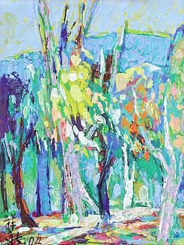 Blue White Yellow Trees by Siang Hua Wang