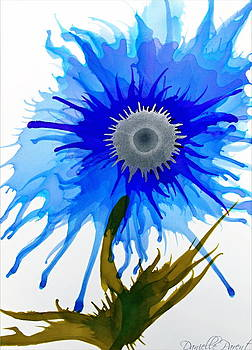 Blue Wild Flower Alcohol Inks  by Danielle  Parent