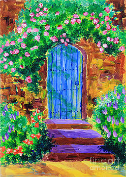 Beverly Claire Kaiya - Blue Wooden Door to Secret Rose Garden