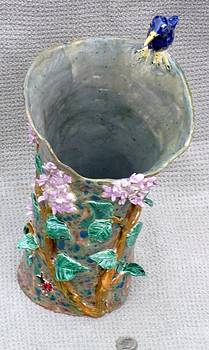 Bluebird butterfly lilac vase hand built from a lump of clay by Debbie Limoli