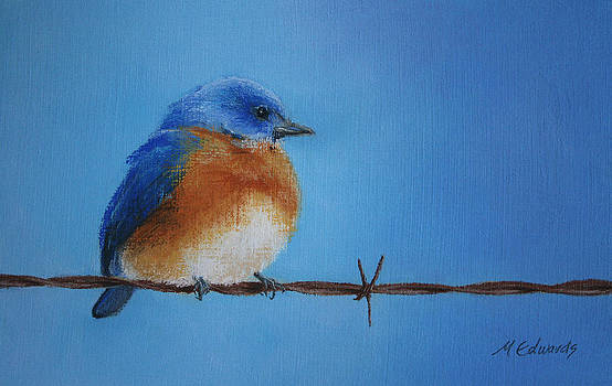 Bluebird on a Wire by Marna Edwards Flavell