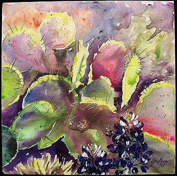 Bluebonnets Among Cacti by Sylvia Morgan
