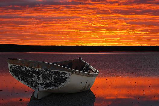 Boat against sunset montage by Grobler Du Preez