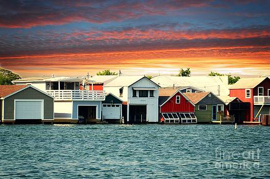 Linda Rae Cuthbertson - Boat Houses on Canandaigua Lake at Sunset