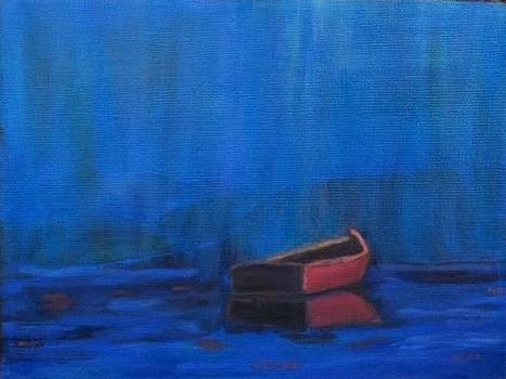 Red Boat in Blue Rain by Molly Fisk