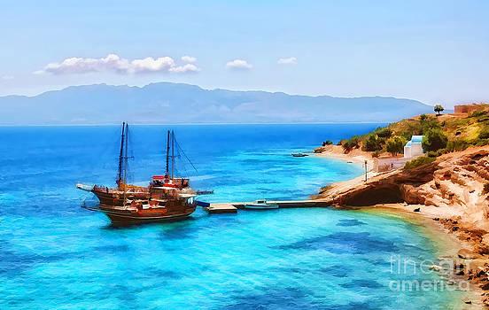 Justyna Jaszke JBJart - Boat in the Greek Island Pserimos