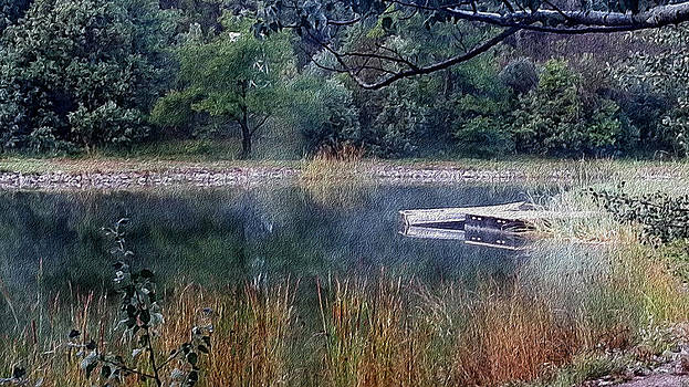 Boat on a Foggy Mountain Lake by Sheryl Cox