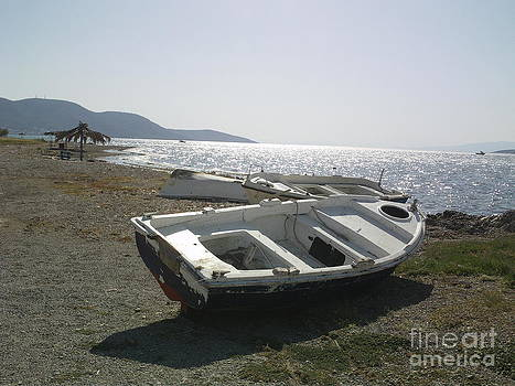 Boat on Alyki Beach by Katerina Kostaki