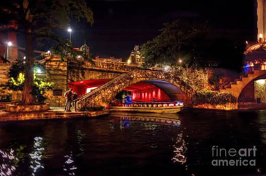 Dan Friend - Boat on canal Riverwalk San Antonio at night