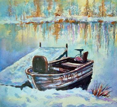 Boat On Frozen Lake by Holly LaDue Ulrich