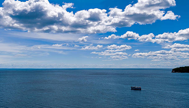 Boat on Lake Superior by Lonnie Paulson