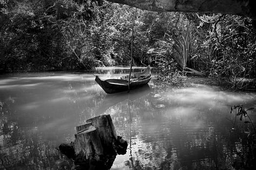 Boat on the river by Thomas Pfeller