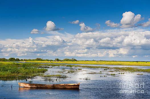 wooden boat in Biebrza wetland area landscape  by Arletta Cwalina