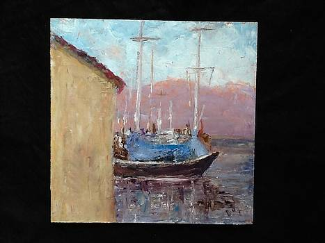 Boat with blue wrap by Bobbie Frederickson