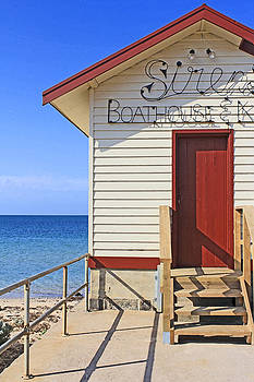 Boathouse on the Beach by Mamie Thornbrue